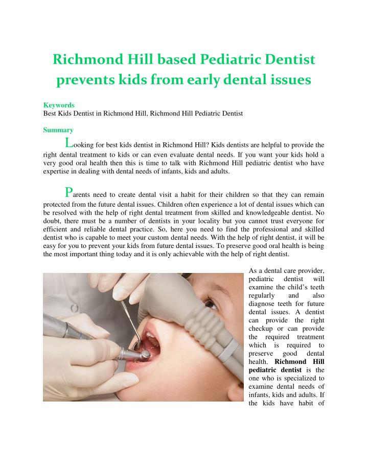 Richmond Hill based Pediatric Dentist