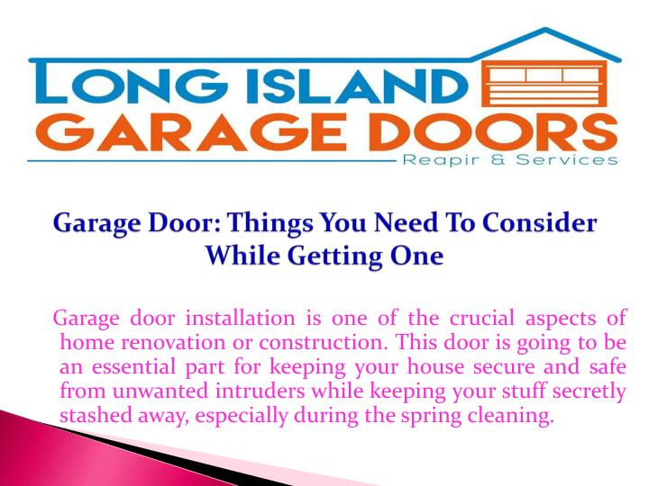 Garage door things you need to consider while getting one