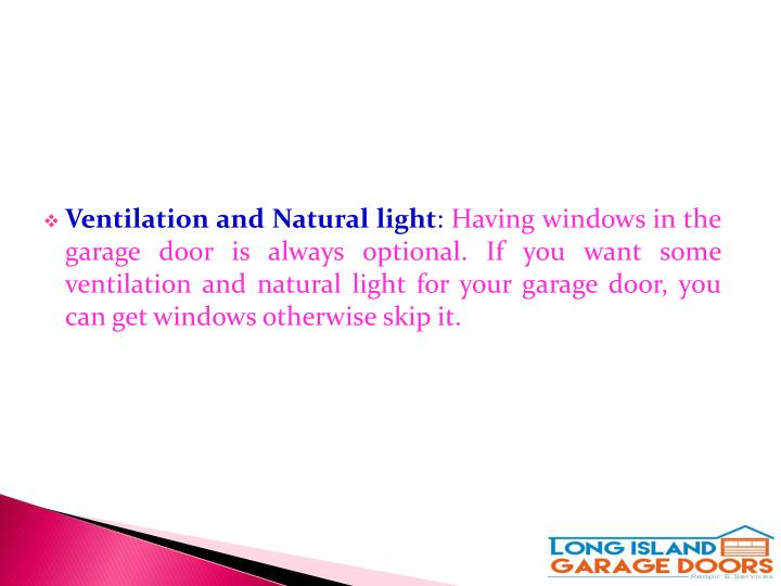 Ventilation and Natural light