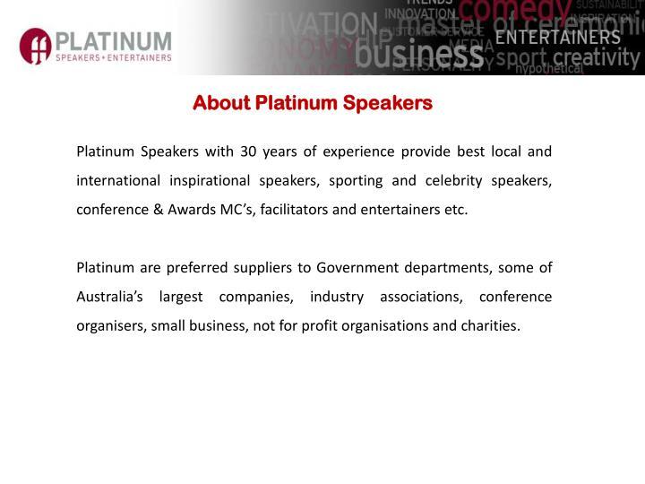 About Platinum Speakers