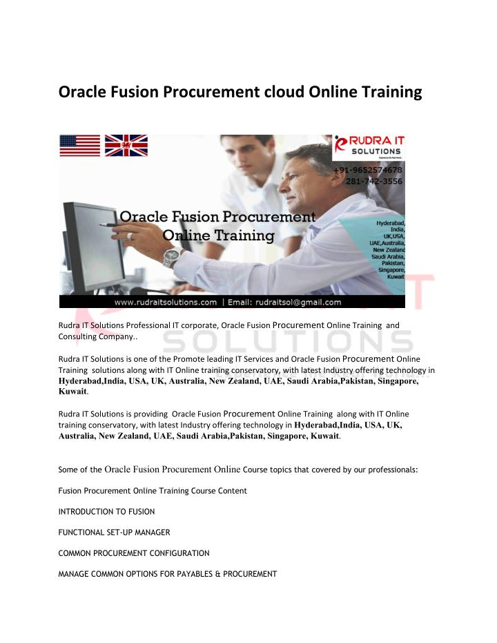 Oracle Fusion Procurement cloud Online Training