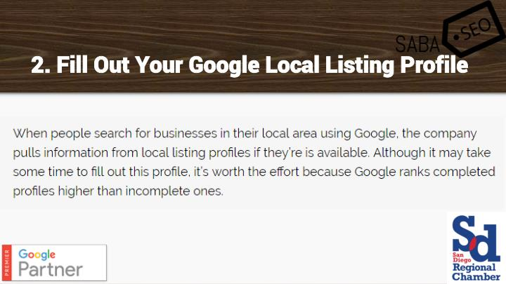 2. Fill Out Your Google Local Listing