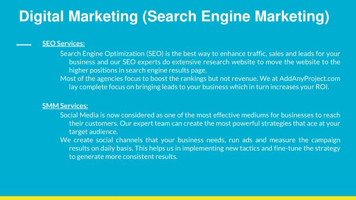 Digital Marketing (Search Engine Marketing)