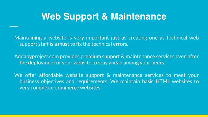 Web Support & Maintenance