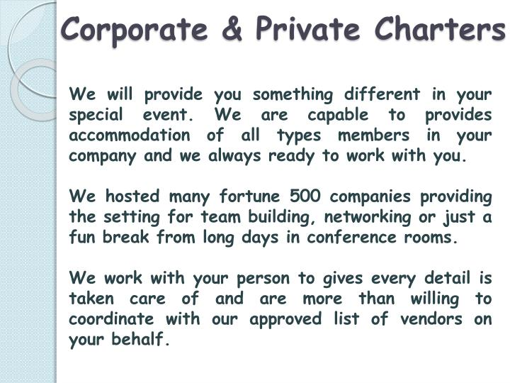 Corporate & Private Charters