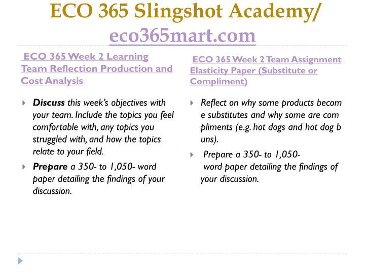 ECO 365 Slingshot Academy