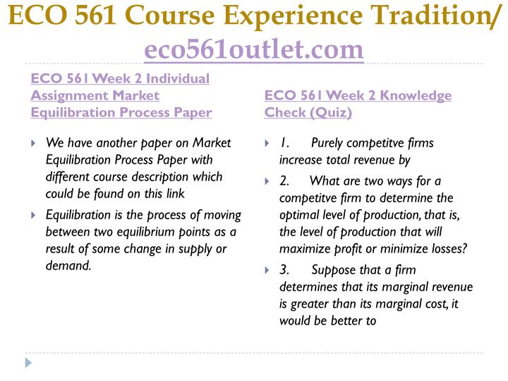 ECO 561 Course Experience Tradition/
