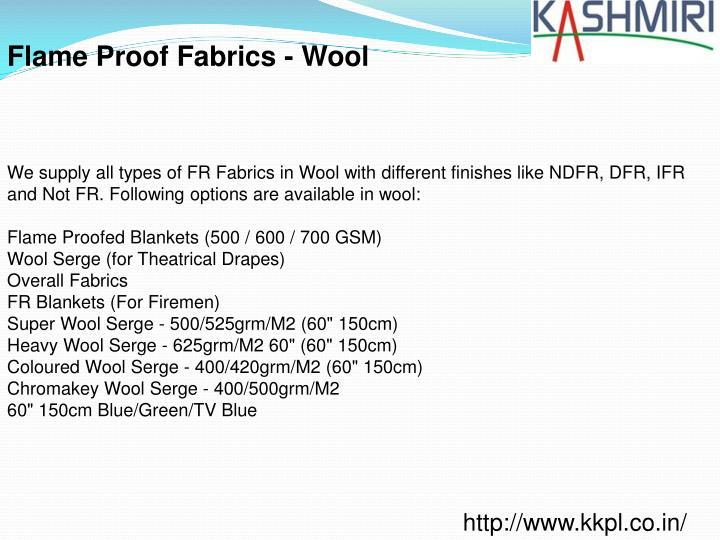 Flame Proof Fabrics - Wool