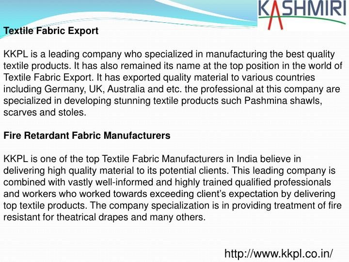 Textile Fabric Export