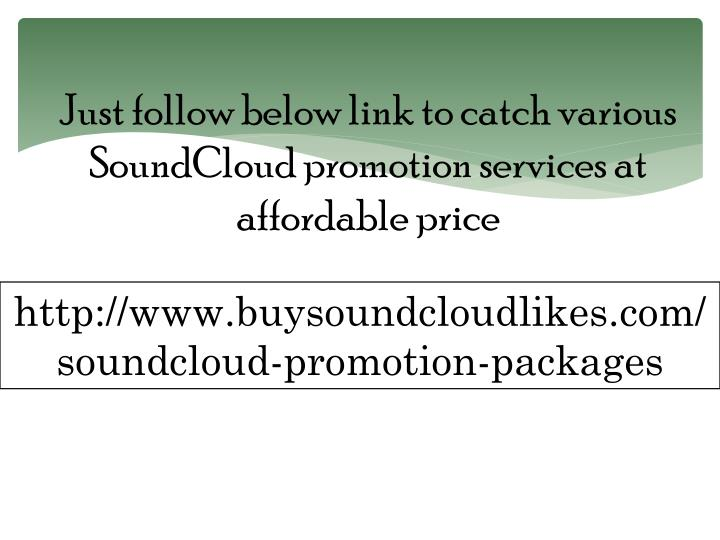 Just follow below link to catch various SoundCloud promotion services at affordable price