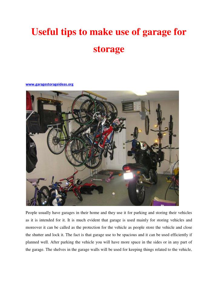 Useful tips to make use of garage for