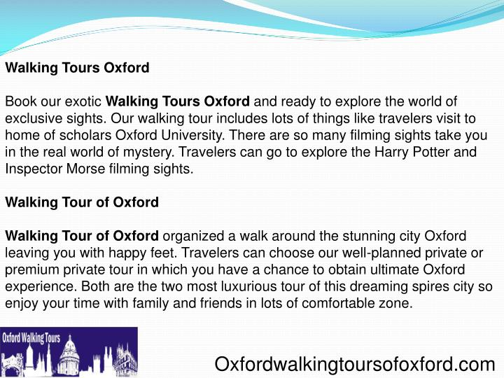 Walking Tours Oxford
