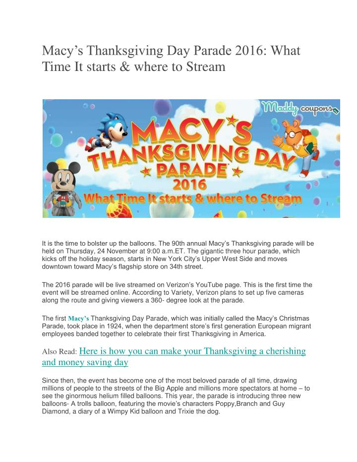 Macy's Thanksgiving Day Parade 2016: What