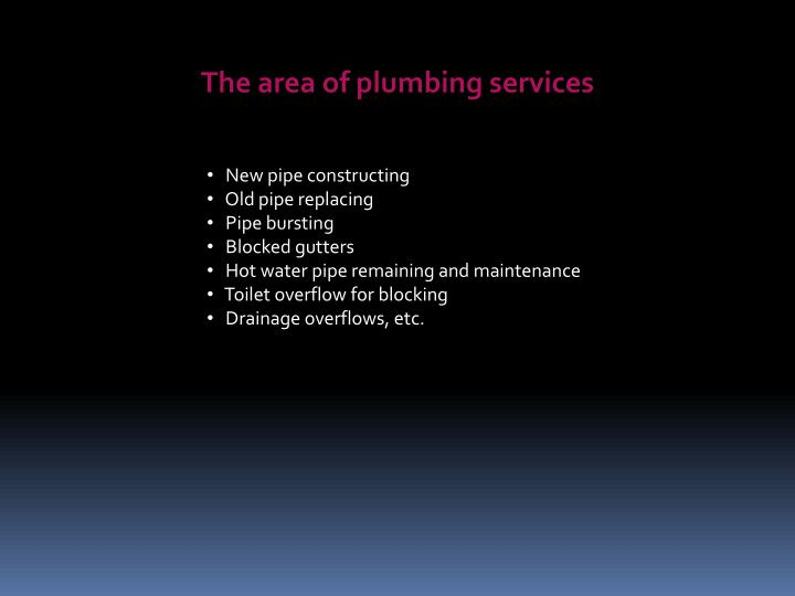 The area of plumbing services