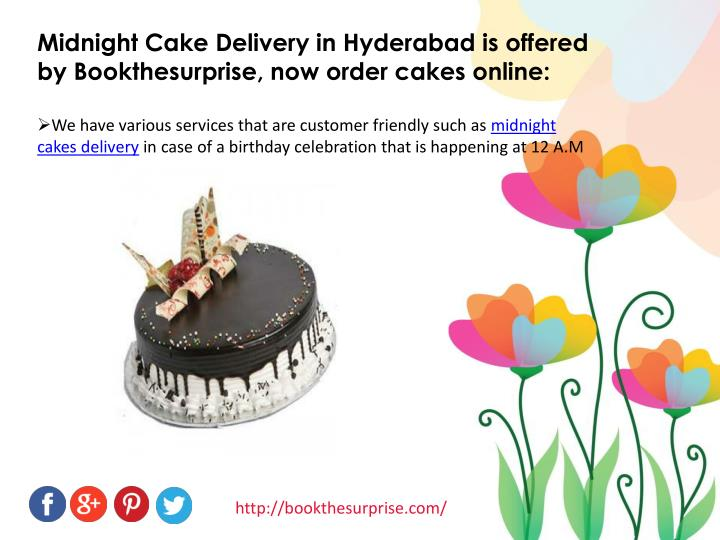 Midnight Cake Delivery in Hyderabad is offered by Bookthesurprise, now order cakes online:
