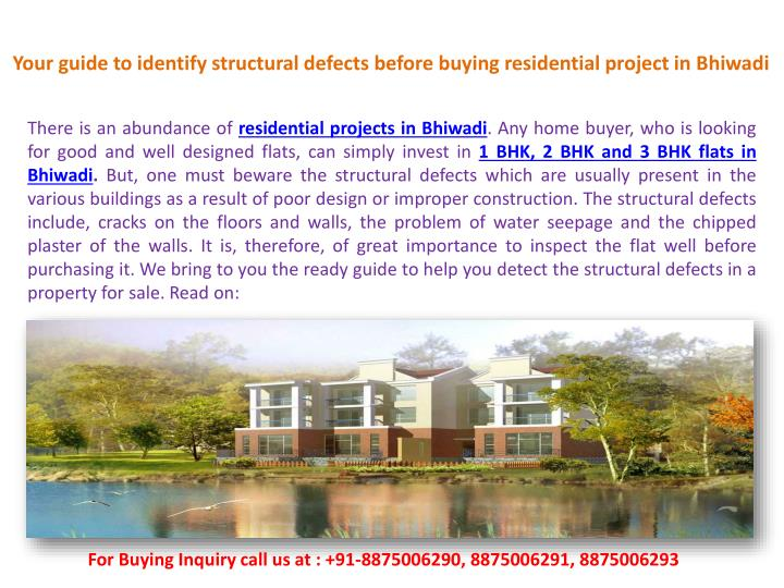 Your guide to identify structural defects before buying residential project in Bhiwadi