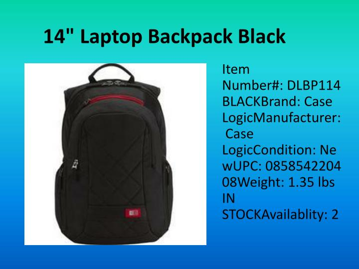 "14"" Laptop Backpack Black"