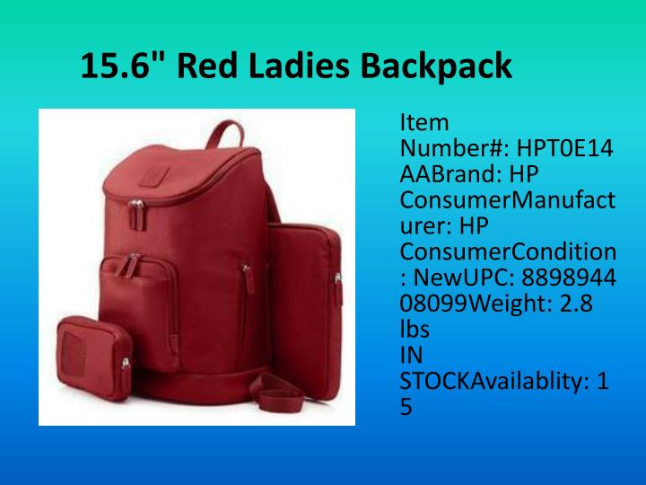 "15.6"" Red Ladies Backpack"