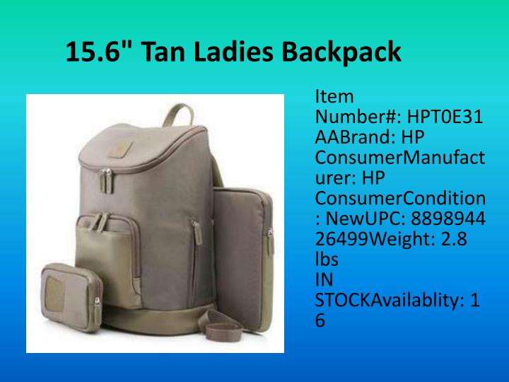 "15.6"" Tan Ladies Backpack"