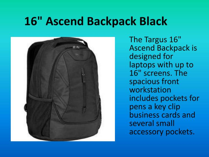 "16"" Ascend Backpack Black"