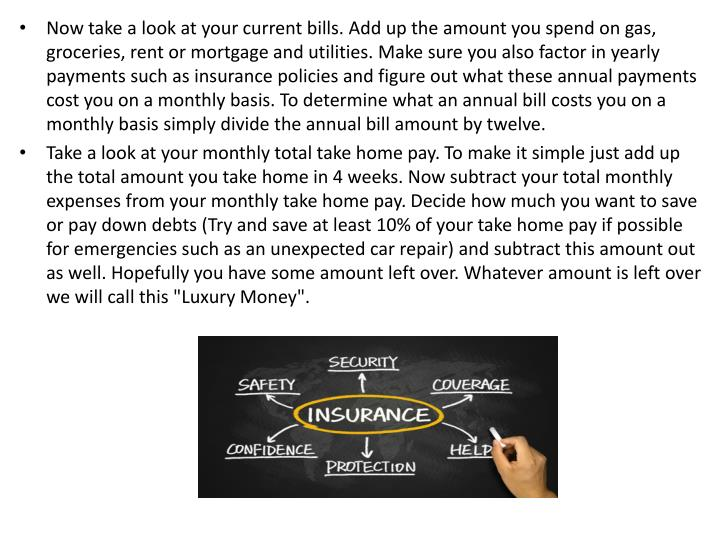 Now take a look at your current bills. Add up the amount you spend on gas, groceries, rent or mortga...