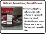 safe and revolutionary sexual formula