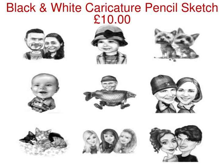 Black & White Caricature Pencil Sketch