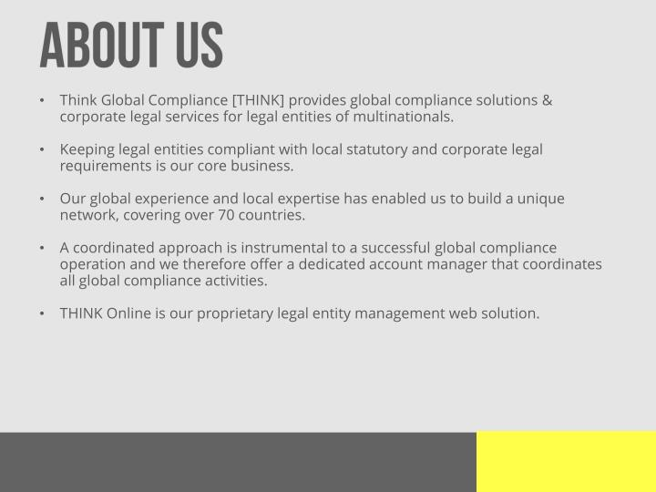 Think Global Compliance [THINK] provides global compliance solutions &