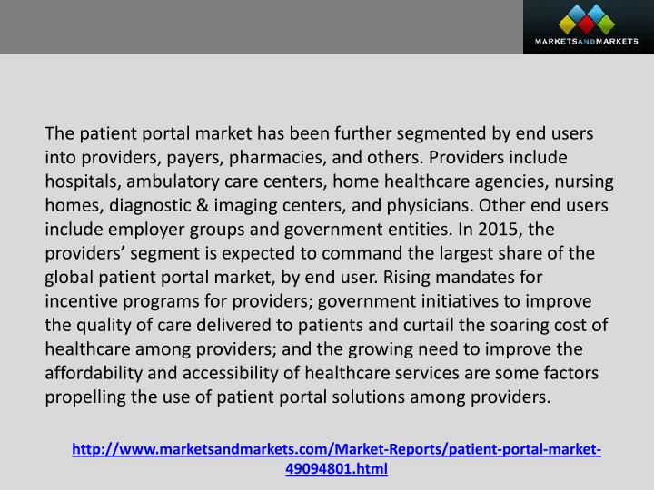 The patient portal market has been further segmented by end users into providers, payers, pharmacies, and others. Providers include hospitals, ambulatory care