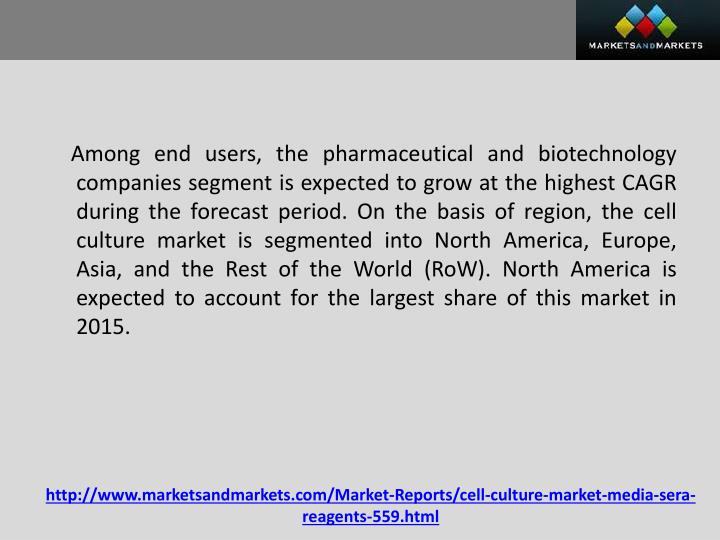 Among end users, the pharmaceutical and biotechnology companies segment is expected to grow at the highest CAGR during the forecast period. On the basis of region, the cell culture market is segmented into North America, Europe, Asia, and the Rest of the World (