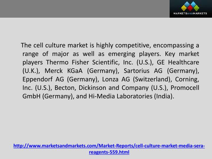 The cell culture market is highly competitive, encompassing a range of major as well as emerging players. Key market players