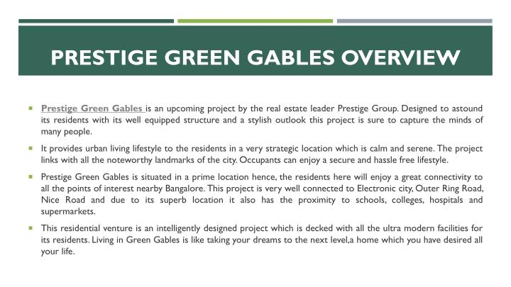 Prestige green gables overview