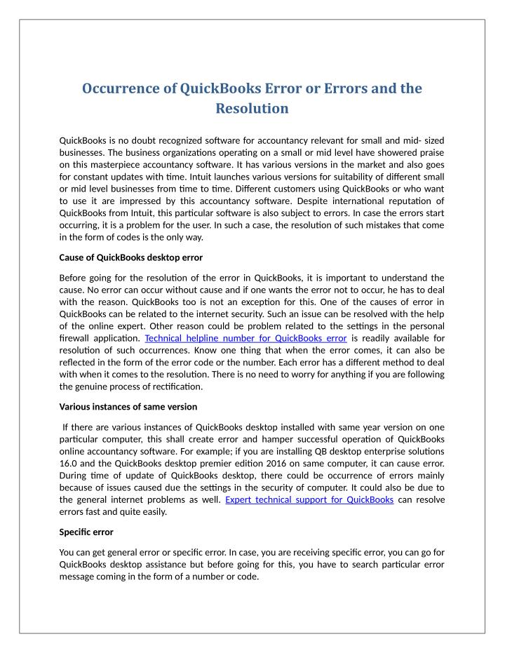 Occurrence of QuickBooks Error or Errors and the