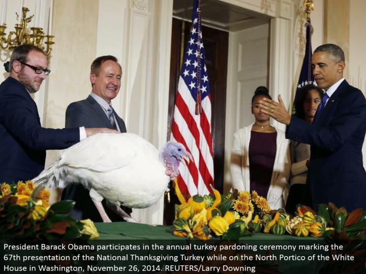 President Barack Obama takes an interest in the yearly turkey exculpating service denoting the 67th ...
