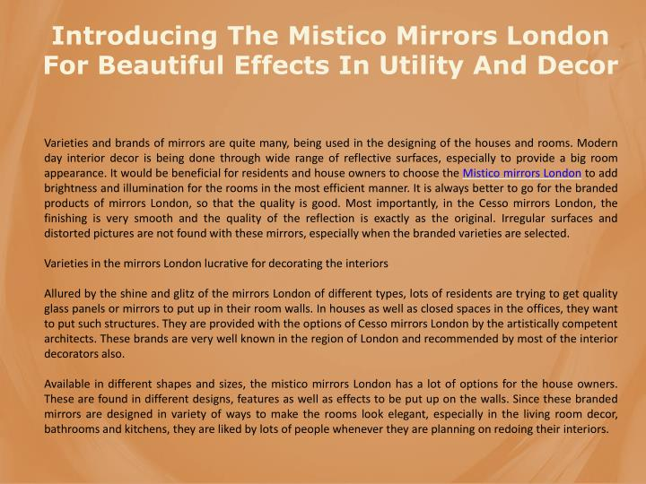 Introducing The Mistico Mirrors London For Beautiful Effects In Utility And Decor
