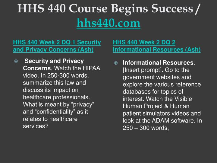HHS 440 Course Begins Success /