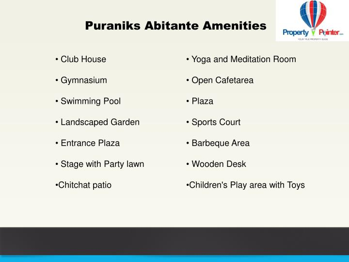 Puraniks Abitante Amenities