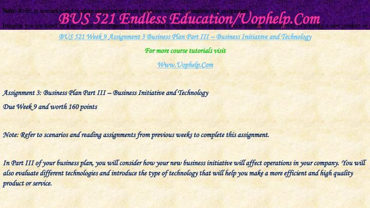 Assignment 1: Business Plan Part I