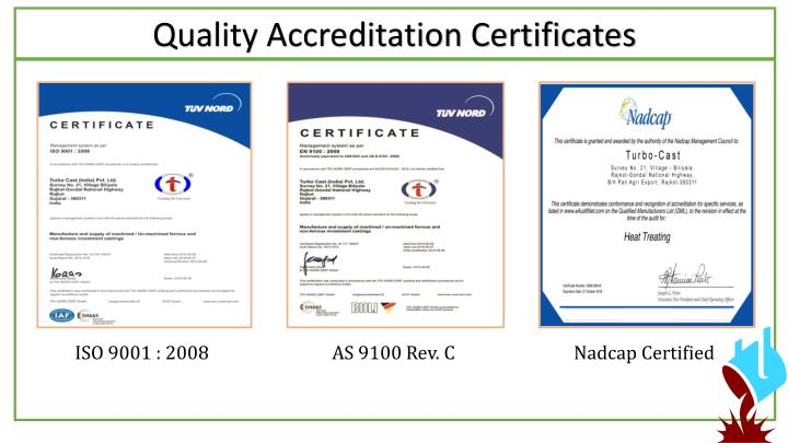 Quality Accreditation Certificates
