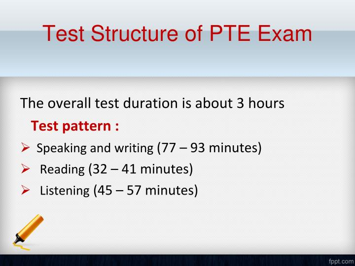 Test Structure of PTE Exam