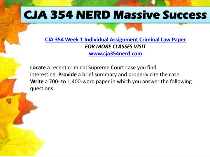 CJA 354 NERD Massive Success