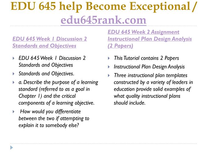 Edu 645 help become exceptional edu645rank com2