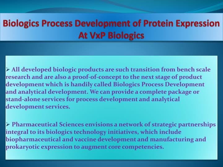 Biologics Process Development of Protein Expression At