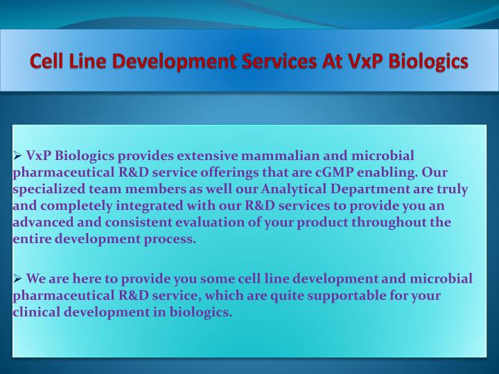 Cell Line Development Services At