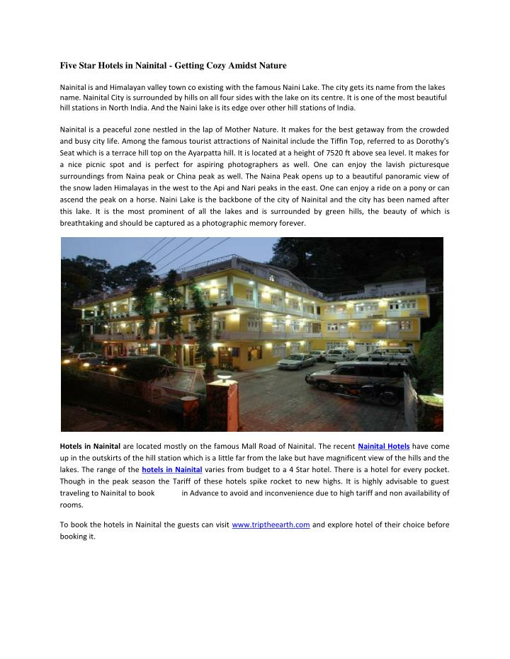 Five Star Hotels in Nainital - Getting Cozy Amidst Nature