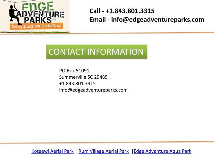 Call - +1.843.801.3315