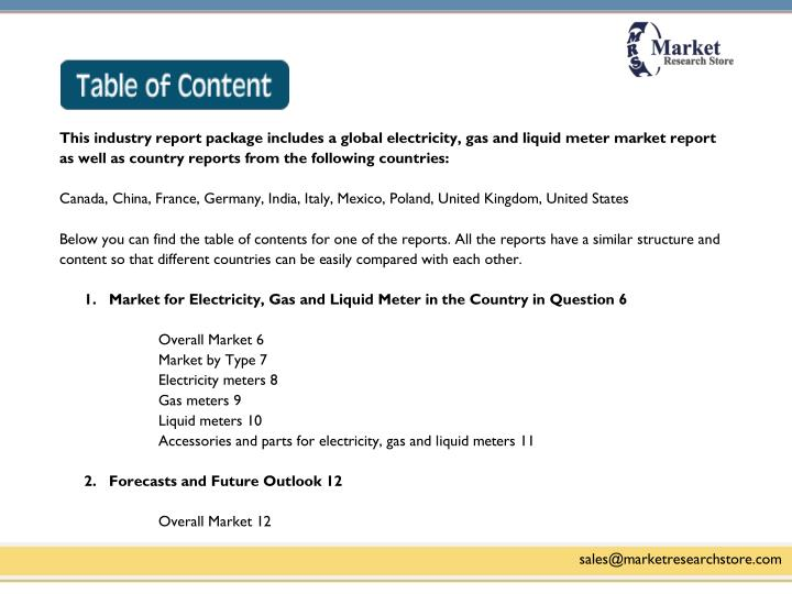 This industry report package includes a global electricity, gas and liquid meter market report