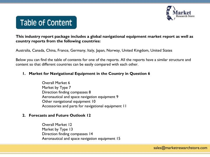 This industry report package includes a global navigational equipment market report as well as