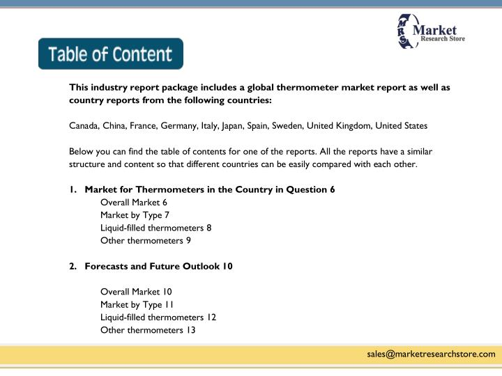 This industry report package includes a global thermometer market report as well as