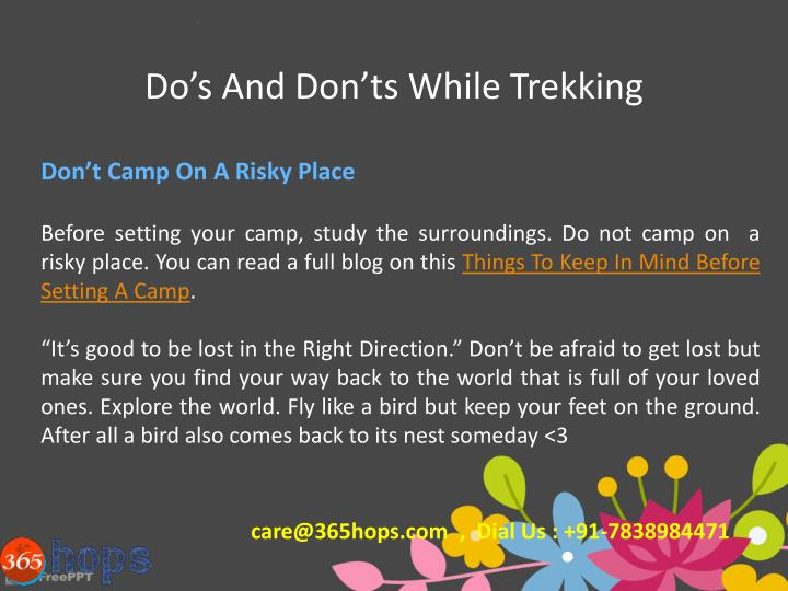 Do's And Don'ts While Trekking